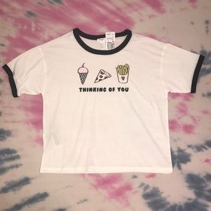 Soft Boxy Loose Fit Food Graphic Ringer Tee Shirt